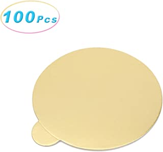 100Pcs Gold Mousse Cake Boards Cupcake Dessert Displays Tray, Wedding Birthday Cake Pastry Decorative Kit Bakeware Cake Tool (Round)