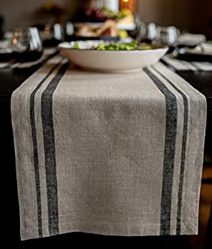 Solino Home French Stripe Table Runner – 14 x 60 Inch 100% Pure Linen Natural Fabric – Black & Natural