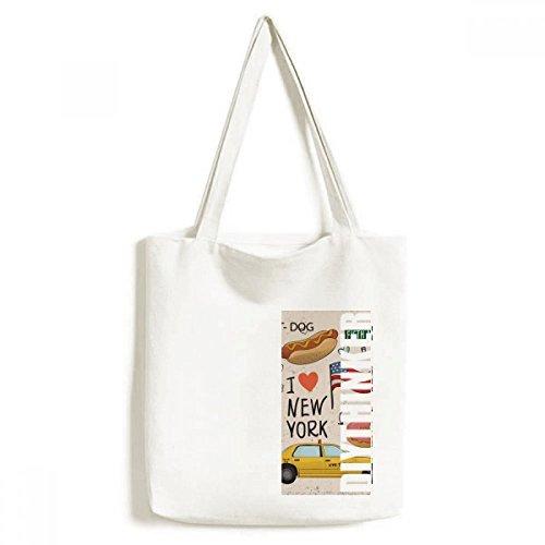 DIYthinker Ich Liebe New York Hot Hund Donuts Amerika Texi-Tasche Einkaufstasche Kunst Waschbar 33cm x 40 cm (13 Zoll x 16 Zoll) Mehrfarbig