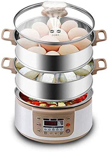 XFSE Caldera de Huevo Calderas eléctricas multifuncionales de 3 Capas Cocina de Huevo rápido Vapor de Vapor Huevo Poacher Capacidad de la Caldera Bandeja extraíble (Color : Parent)