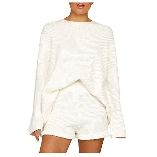SETSAIL Damen Trainingsanzug Sweatshirt Rock Sets Sport Langarm Tragen Freizeitanzug Strickwaren einfarbig lose Pullover Damen Shorts