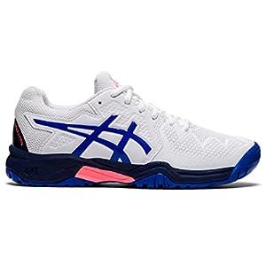 ASICS Kid's Gel-Resolution 8 Clay GS Tennis Shoes, 4, White/Lapis Lazuli Blue