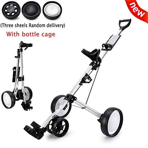 KXDLR 2020 New Golf Push Cart 4 Wheels Foldable Hand Cart Easy Push and Pull Cart Trolley with Score Board, Quick Open and Close Golf Pull Cart