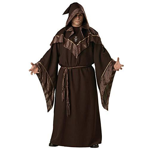 hhalibaba Fiesta de Halloween Chamán Traje religioso Religioso Europeo Hombres Dios Padre Misionero Mago gótico Cosplay Sacerdote Uniforme