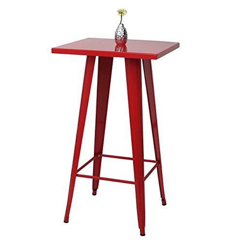 Mendler Stehtisch HWC-A73, Bistrotisch Bartisch, Metall Industriedesign 105x60x60cm ~ rot
