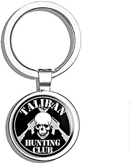 PRS Vinyl Round TALIBAN Hunting Club (Skull ar-15 Army Military Gun) Double Sided Stainless Steel Keychain Key Ring Chain Holder Car/Key Finder