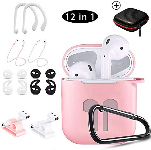 KHTONE AirPods Case, 12 in 1 Silicone AirPods Accessories Set Protective Cover, Compatible with Apple AirPods Charging Case,Watch Band Airpods Holder/Ear Hooks/Keychain//Carrying Box (Pink 12 in 1)