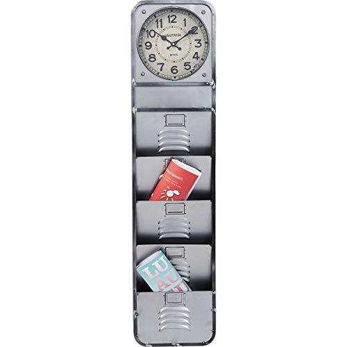 Kare Design Wanduhr Thinktank Kontor, moderne, ausgefallene Designuhr mit Zeitungsständer für die Wand, Zeitschriftenständer im Vintage Design, Silber (H/B/T) 124x30x7cm