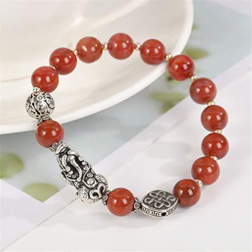Feng Shui ágata roja pulsera de ágata cornalina Southred pulsera / Piyao pulsera riqueza prosperidad Amuleto de plata pura Pixiu Atraer regalo brazalete de amor suerte para mujeres / hombres