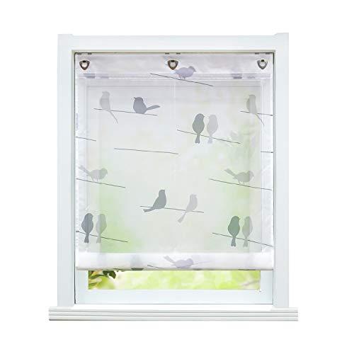 ESLIR Raffrollo ohne Bohren Raffgardine mit Ösen Transparent Gardinen mit U-Haken Ösenrollo Modern Weiß Vögel Muster BxH 120x140cm 1 Stück