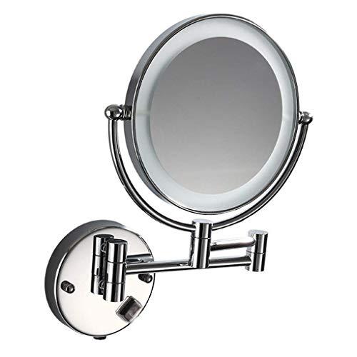 CENPEN Espejo de maquillaje montado en la pared 360° giratorio iluminado espejo de maquillaje 8' montado en la pared LED 3X aumento espejo de tocador pulido acabado cromado espejo de aseo