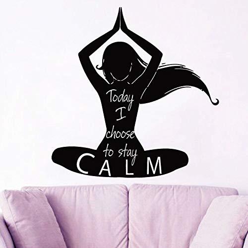 YuanMinglu Abnehmbare Vinyl Wandtattoo Yoga Studio Dekoration behalten ruhige Yoga Haltung Wandtattoo schwarz 57x58cm