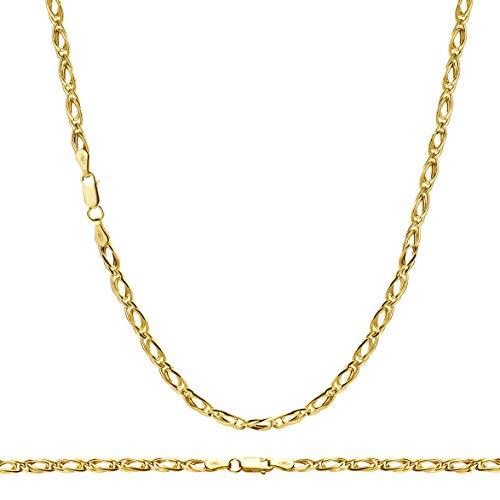 14 Karat 585 Gold Tigeraugen Pfauenauge Unisex Gelbgold Kette - Breite 3.50 mm (45)