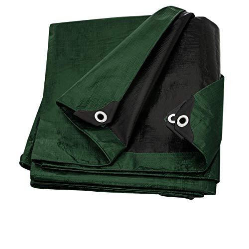 Trademark Supplies Heavy Duty Thick Material Waterproof Tarp Cover, 6X8-Feet, Green/Black