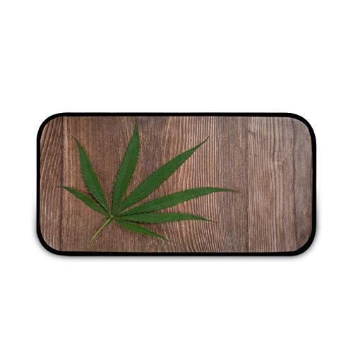 Heaps - Felpudo con hojas de marihuana, fácil de limpiar, antideslizante, para entrada, patio, puerta, garaje, cocina, baño, lavandería, todo tipo de clima, interior/exterior