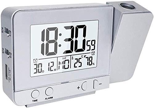 FCYQBF Projektionswecker Digital Date Snooze Funktion Hintergrundbeleuchtung Projektor Schreibtisch Tisch LED Uhr mit Zeitprojektion