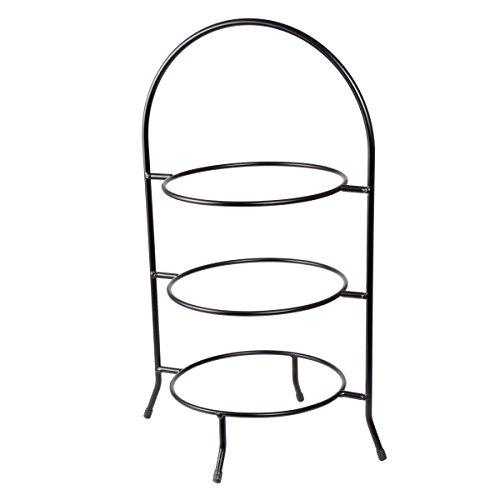 "Creative Home Iron Works 3-Tier Metal Dinner Plate Rack Party Food Server, 20"" H, Black"
