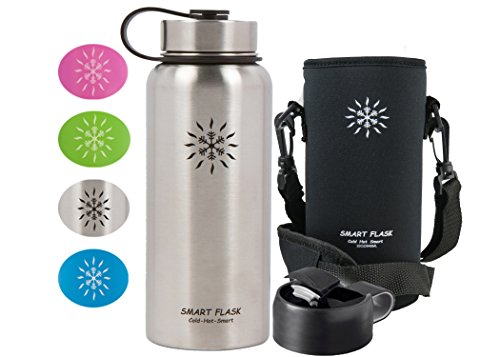Smart Flask Stainless Steel Water Bottle, Wide Mouth, Vacuum Insulated, Includes Carrying Pouch with 59' Shoulder Strap, Rugged Leakproof Stainless Steel Lid, and Flip Top Coffee Lid (Stainless Steel)