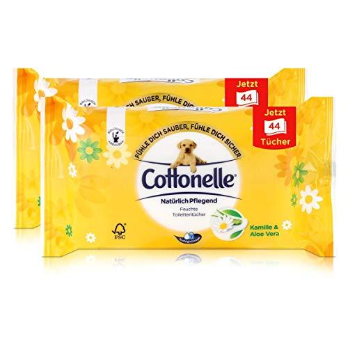 2x Hakle Cottonelle feuchte Toilettentücher Kamille & Aloe Vera 44 Tücher, Nachfüller