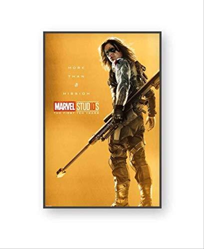 NOBRAND Marvel Comics Movie Canvas Posters Capitán América Iron Man Hulk Black Widow Deadpool Paintings Decoración De La Pared Imágenes Inicio 40X60Cm Sin Marco