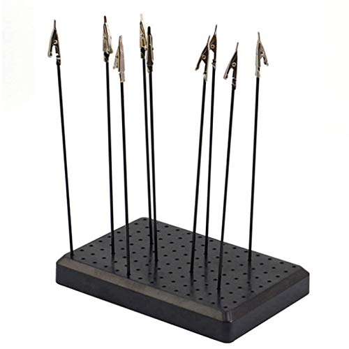 Cobeky 9 x 14 agujeros base de soporte de pintura con 10 unids metal cocodrilo clip palo modelado herramienta juguetes pasatiempos accesorios