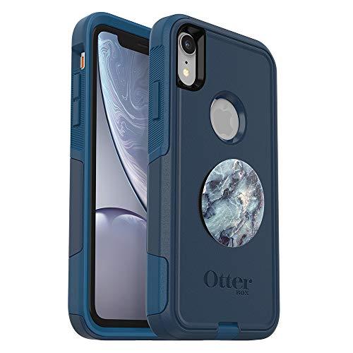 Otterbox Bundle Commuter Series Case for iPhone XR - (BESBOKE Way) + PopSockets PopGrip - (Blue Marble)