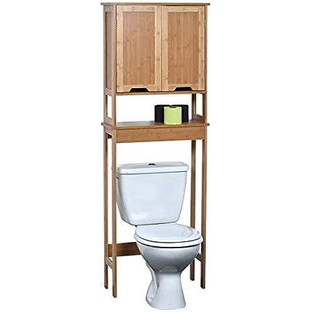 TENDANCE – Mahe bambú WC Accesorio de + 2 MDF Puertas + 1 Estante Interior, Madera, Blanco/Roble, 57 x 21.5 x 173 cm