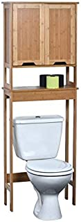 TENDANCE–Mahe bambú WC Accesorio de + 2MDF Puertas + 1Estante Interior Madera Blanco/Roble 57x 21.5x 173cm