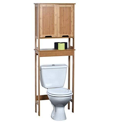 Tendance Mahe Bambou, Mueble de inodoro con dos puertas de MDF y un estante interior, madera, blanco / roble, 57 x 21,5 x 173 cm
