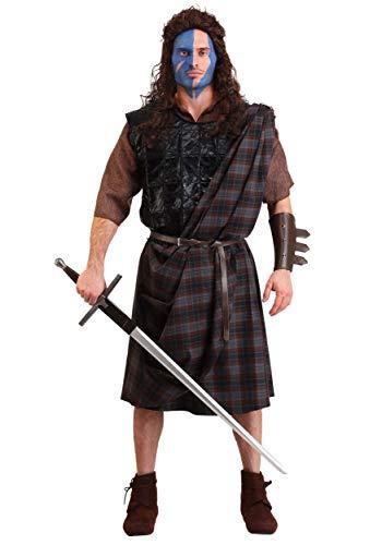 Braveheart William Wallace - Disfraz para hombre con túnica, Kilt, faja, armadura del pecho, cinturón y guantelete - Marrón - Medium