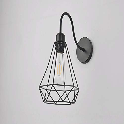 zlw-shop Lámparas de Pared Cause Wall Sconence, Estilo Vintage E27 Metal Metal Light Light Finxture para la cabecera Dormitorio Garage Porch Mirror Lámpara de Pared