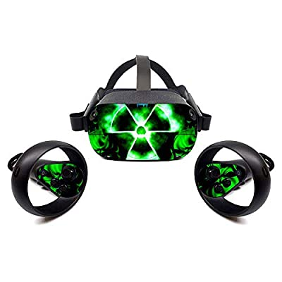 FOTTCZ Vinyl Sticker Skins for Oculus Quest VR Headsets and Controllers, Virtual Reality Skin - Nuclear GreenSign