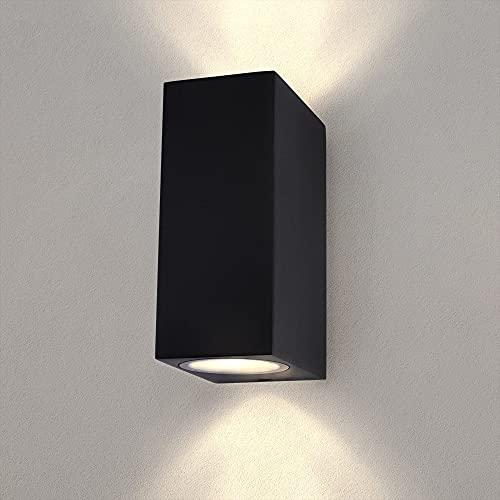 LED Wandleuchte aussen   Cube Schwarz   Beidseitig 2x GU10 Up&Down   Außenwandleuchten   Wandlampe   Außenlampe   IP54