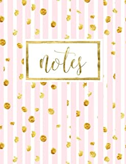 Notes: Notebook & Journal with Pink & White Stripes & Gold (Volume 10)