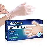 APHOCO Large Vinyl Disposable Gloves, 100 Counts, Transparent