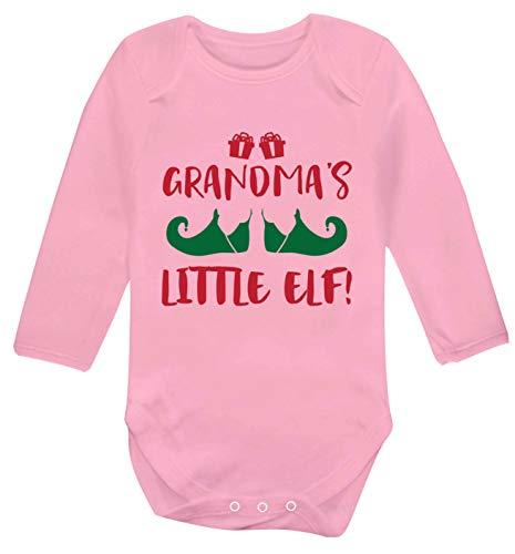 Flox Creative Gilet à Manches Longues pour bébé Inscription Grandma's Little Elf - Rose - Nouveau né