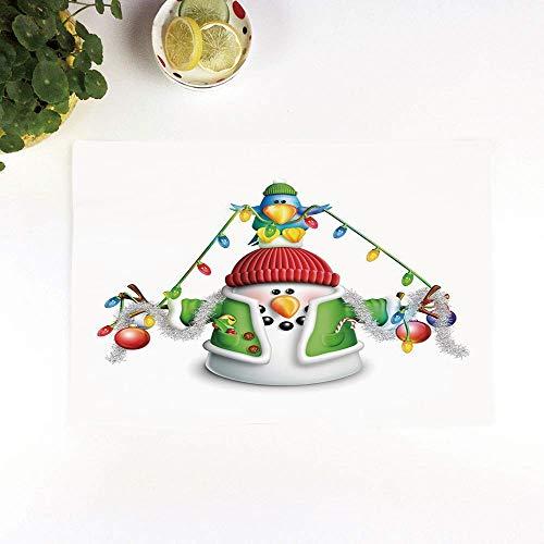 Set 4er Platzset rutschfest, Schneemann, Wunderliche Zeichentrickfigur mit Weihnachtsgirl,Platzdeckchen Rutschfest Abwaschbar Tischmatten Abgrifffeste Hitzebeständig Tischsets, Platz-Matten für küche