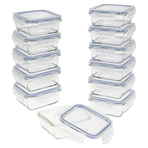 AKTIVE - Pack 12 Recipientes Herméticos de Vidrio, Tupper Cristal Apto para Microondas, Envases para Comida con Cierre, 330 mililitros, Tapas transparentes, Contenedor de Alimentos, Tapers Cua