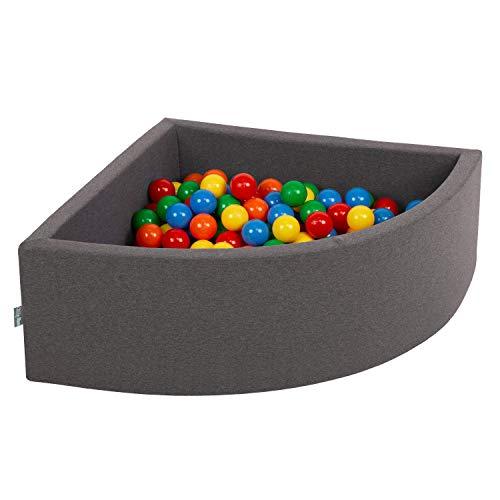 KiddyMoon 90X30cm/300 Bolas Piscina De Bolas ∅ 7Cm para Ninos Cuarto Angular Hecha En La UE, Grisos:Amarillo/Verde/Azul/Rojo/Naranja