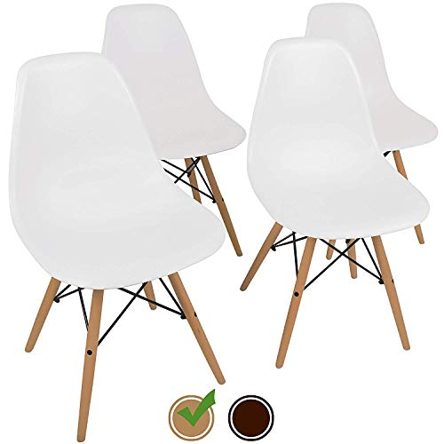 UrbanMod Mid Century Style Urban 'Easy Assemble Furniture with ErgoFlex ABS Plastic and 'One Wipe Wonder' Cleaning Comfortable Dining Meets 5-Star Modern Chair, 4, White