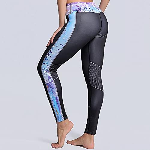 Yoga Impresión Pantalones,Entrenamiento Femenino Gradient Costuras 3D Impresión Pantalones De Patrón De Yoga De Cintura Alta, Delgado Y Ligero Control De La Barriga De Estiramiento Rápido De La C