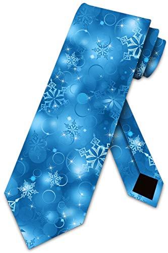 Three Rooker Weihnachts-Krawatte für Herren, Winter-Krawatte mit Schneeflocken - Blau - Einheitsgröße