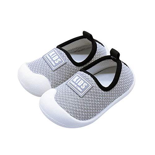 DEBAIJIA Kleinkindschuhe 0-3T Baby First-Walking Babyschuhe Einfarbig Weiche Sohle Rutschfestes Netz Atmungsaktives Leichtes PVC Material(Grau-17)
