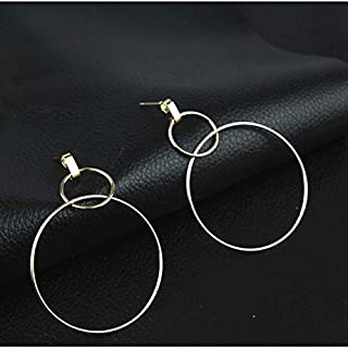 Earrings, 2 Pairs Simple Temperament Popular Wild Handmade and Electroplate Drop Round Earrings (Color : Gold, Size : One Size)