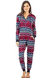 Women's Sweater Fleece Zip Up Hooded Jumpsuit One Piece Pajama