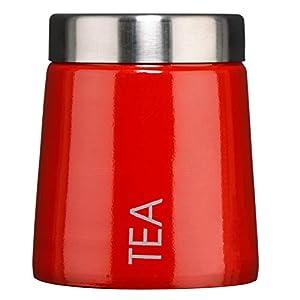 Maison by Premier - Boîte à thé Madison en émail Rouge - pour Une Cuisine Bien rangée