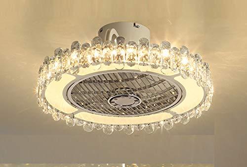 Salón dormitorio comedor lámpara 72w habitación infantil blanco con mando a distancia regulable y velocidad del viento lámpara LED ventilador de techo Ø50x28cm redondo