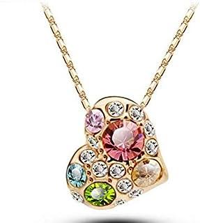 18K Gold Plated Women's Heart Set, Austrian Crystal