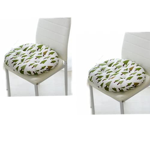 2 cojines redondos acolchados para asiento de silla para interiores y exteriores, jardín, patio, cocina y oficina (B)