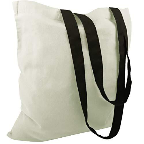 Bolsas de algodón, de yute, con 2 asas largas, color natural, 38x 42cm, 100 % algodón., Color natural con asa negra., 10 unidades